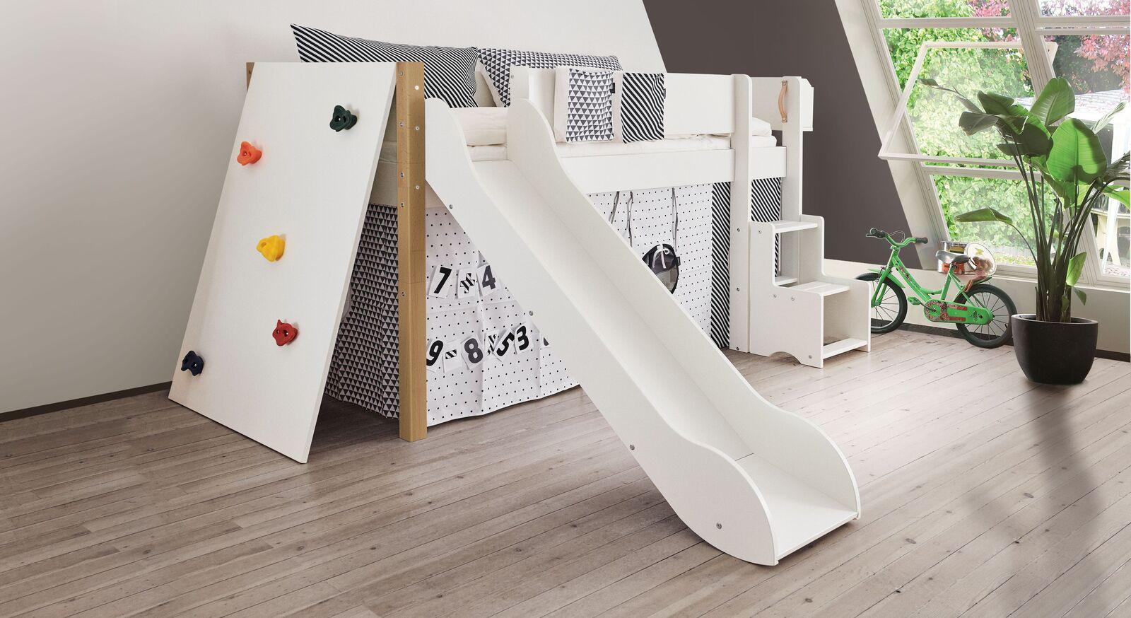 Mini-Rutschen-Hochbett Kids Town mit Kletterwand inklusive Absturzsicherung