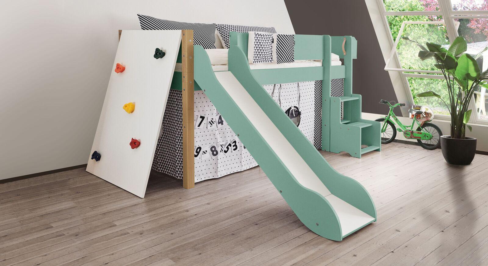 Mini-Rutschen-Hochbett Kids Town Color mit Kletterwand und Buchepfosten