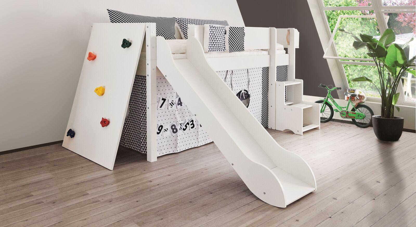 Mini-Rutschen-Hochbett Kids Town mit Kletterwand weiß deckend lackiert