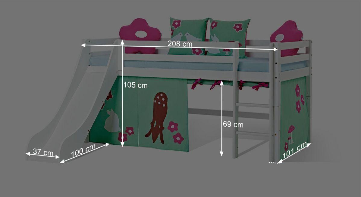 Bemaßungsgrafik zum Mini-Rutschen-Hochbett Rotkäppchen