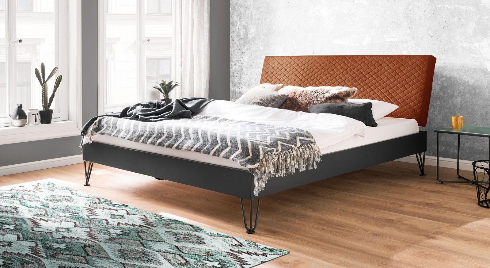 Modernes Bett Vegeta mit cognacfarbenem Kopfteil