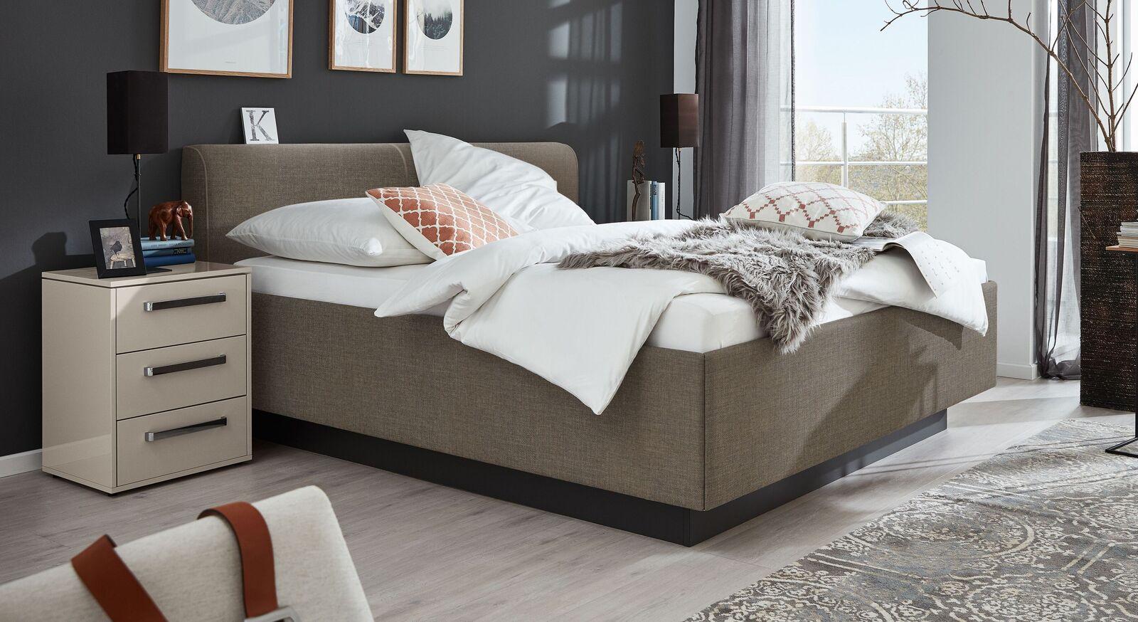 MUSTERRING Bett Epos mit Keder-Kopfteil mit dunklem Sockel