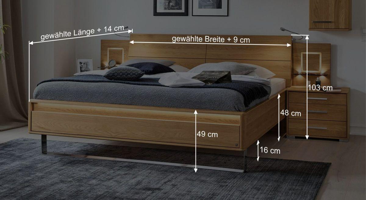 Bemaßungs-Grafik zum MUSTERRING Bett Samoa mit Chromkufe