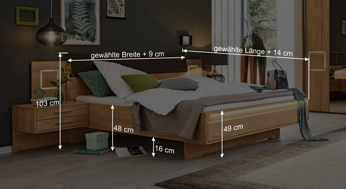 Bemaßungs-Grafik zum MUSTERRING Bett Samoa mit Quersockel