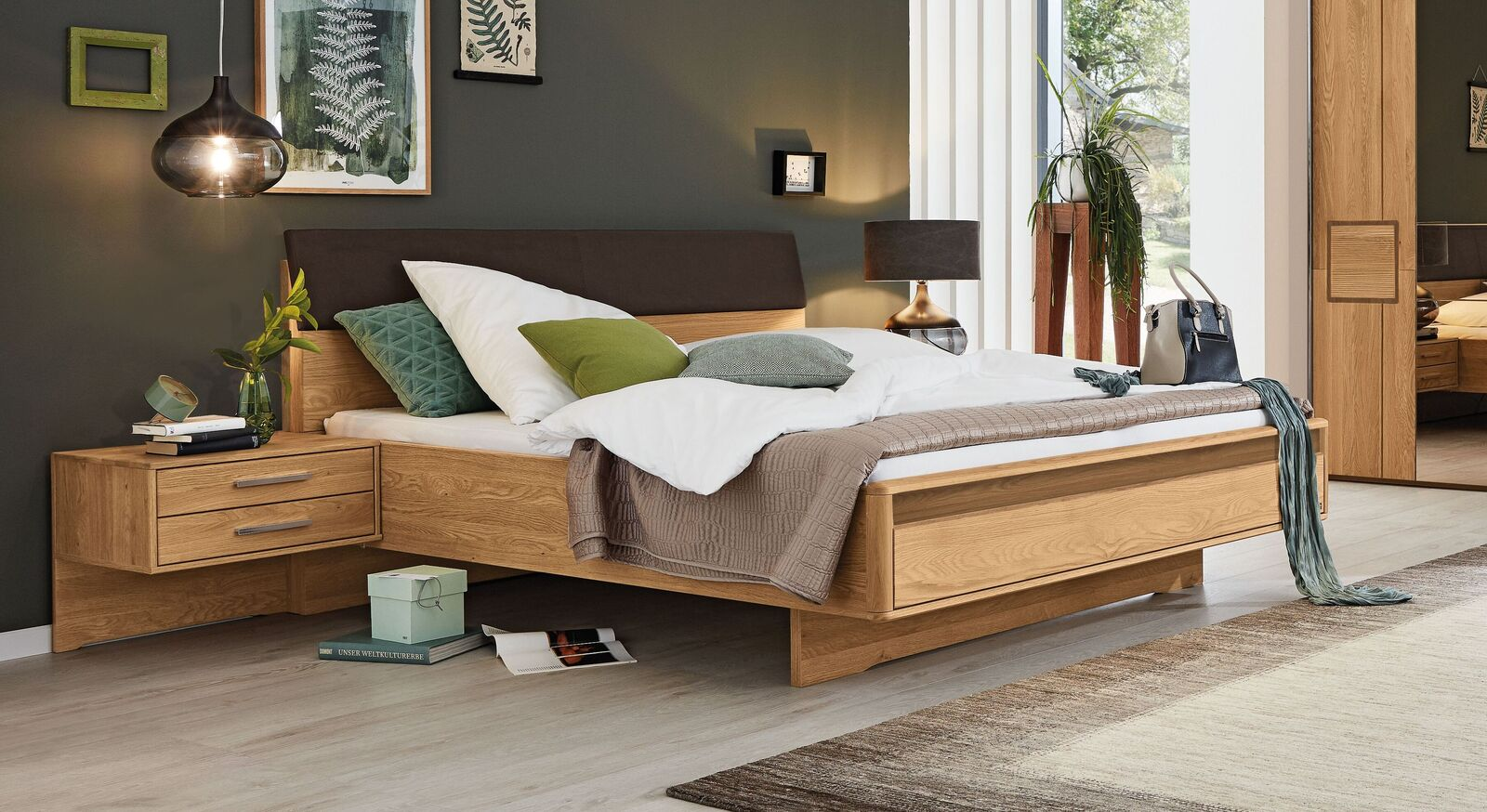 MUSTERRING Bett Samoa mit Quersockel aus massiver Eiche