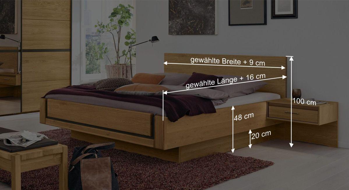 Bemaßungsgrafik zum Musterring Bett Sorrent Schwebeoptik