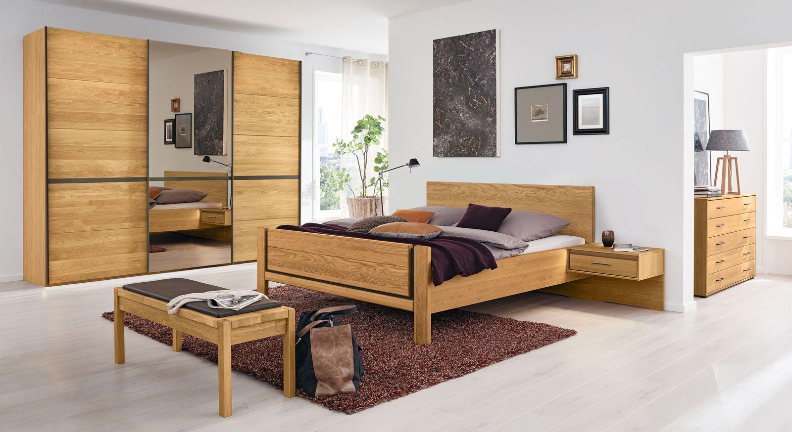 MUSTERRING Schlafzimmer Sorrent mit Bett und Schwebetürenschrank