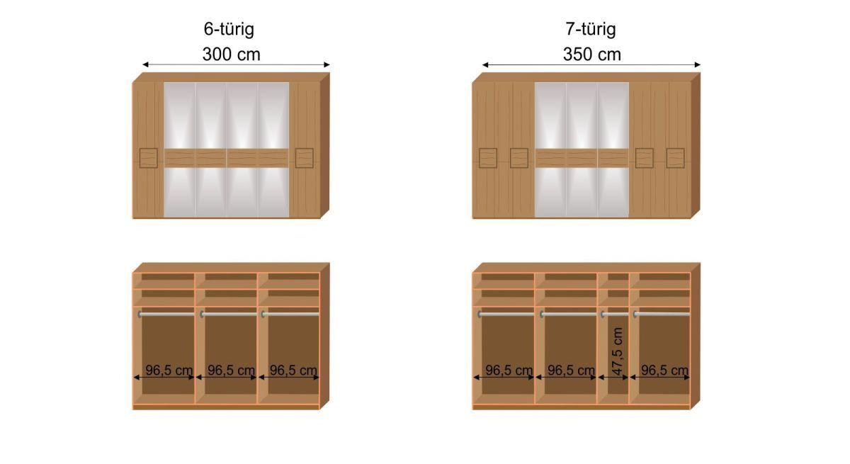 Maß-Grafik zur Inneneinteilung des MUSTERRING Kleiderschranks Samoa