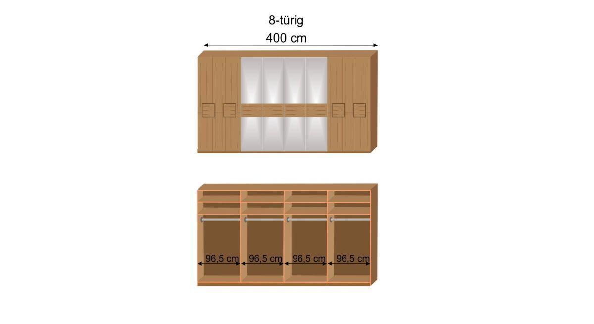 Maßgrafik zur Innen-Einteilung zum MUSTERRING Drehtüren-Kleiderschrank Samoa