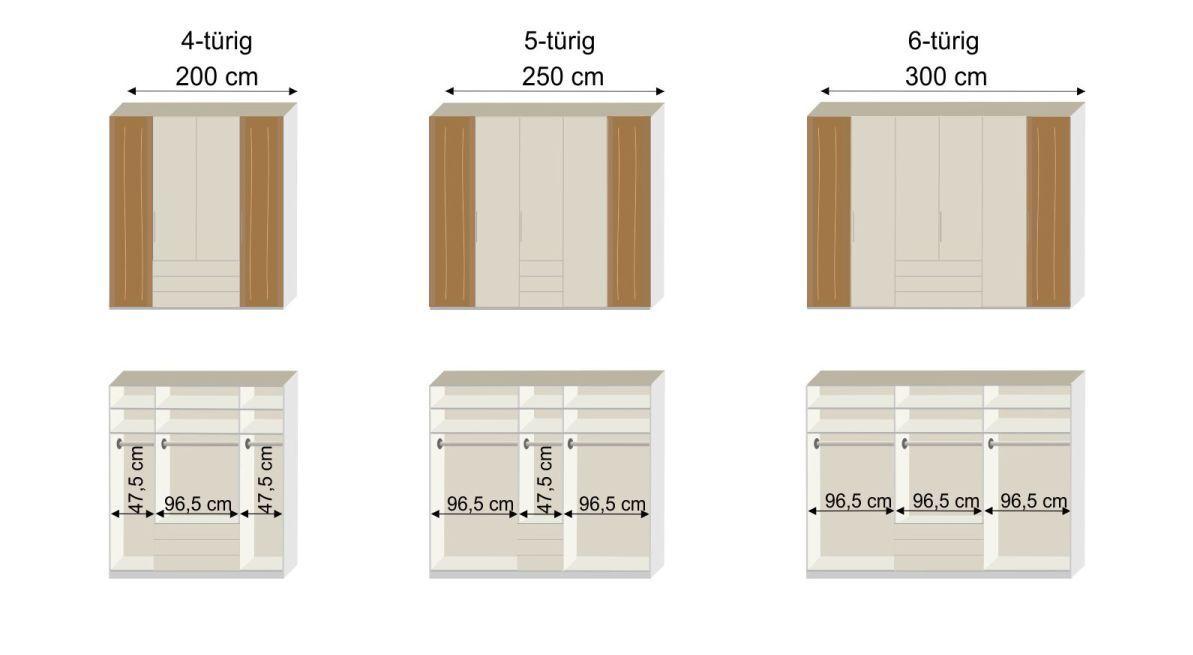 Bemaßungsgrafik zum Funktions Kleiderschrank Inneneinteilung 4-5-6 türig Saphira