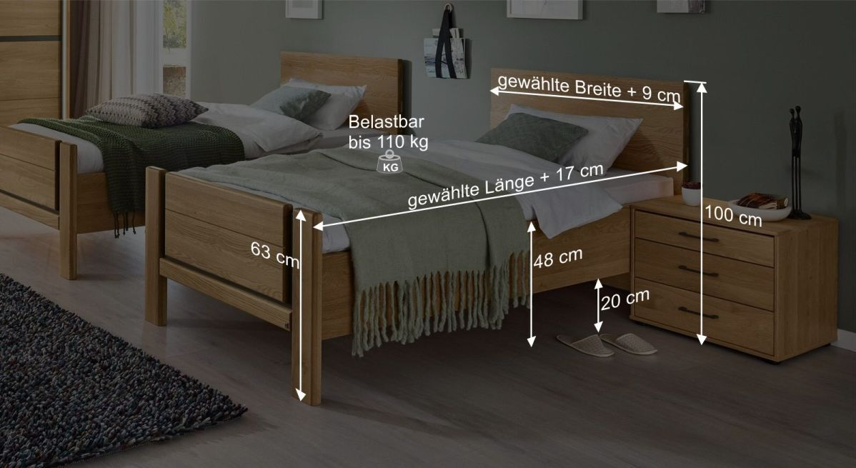 Bemaßungsgrafik zum Einzelbett Sorrent