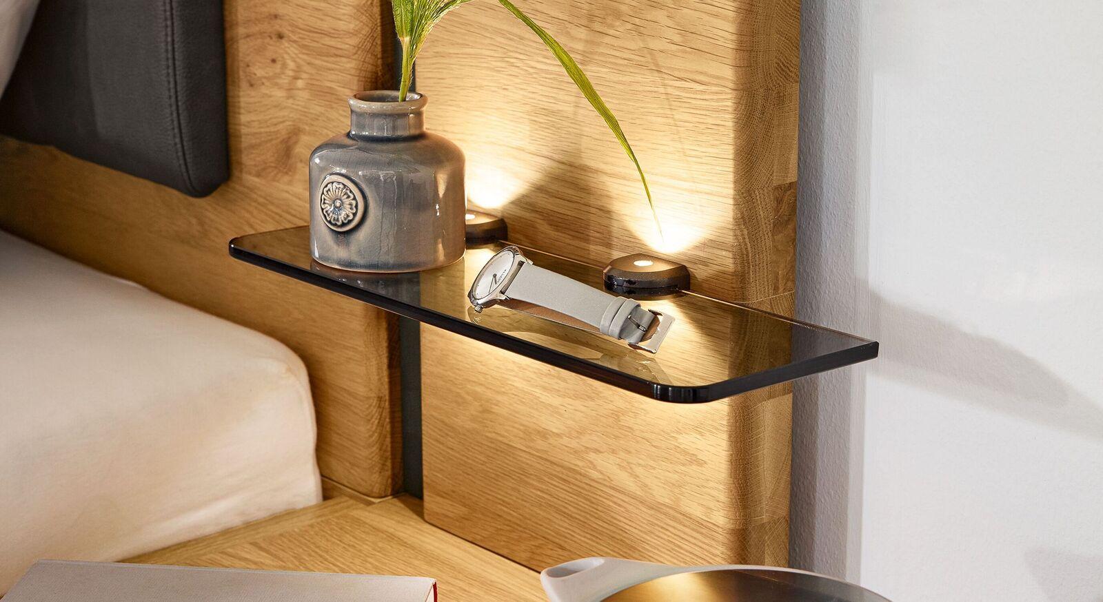 MUSTERRING Nachttisch-Aufsatzpaneele Sorrent mit gerundeter Glasplatte