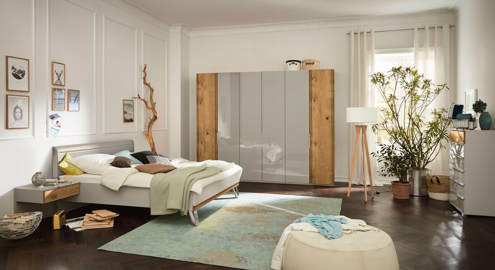 MUSTERRING Schlafzimmer Saphira kieselgrau mit Bett Kleiderschrank und Nachttisch