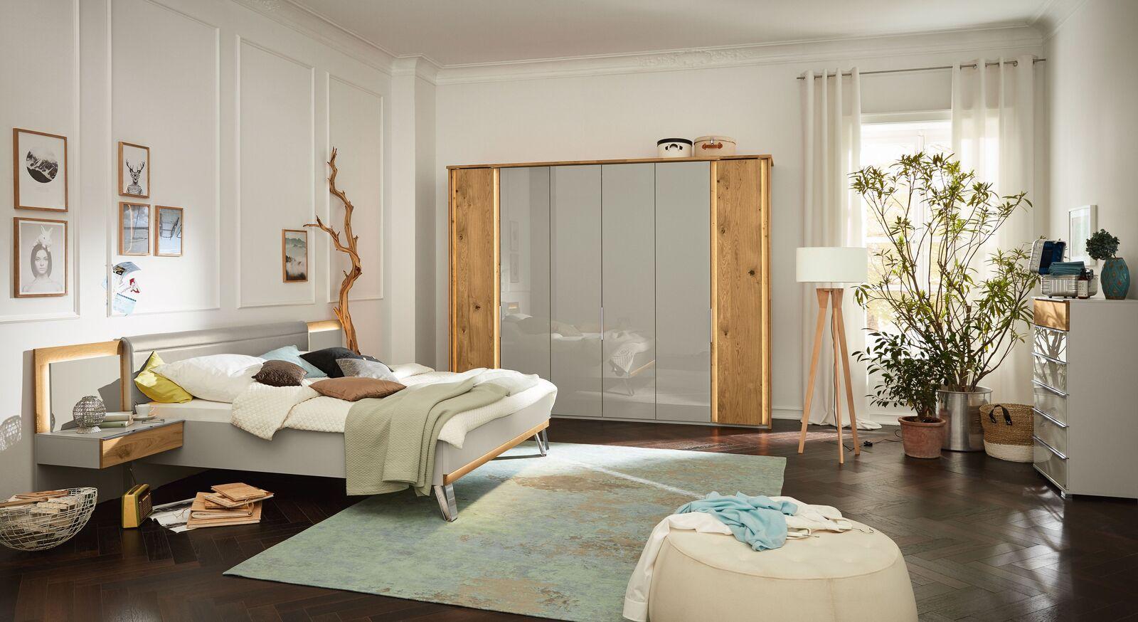 MUSTERRING Schlafzimmer Saphira kieselgrau mit passendem Zubehör