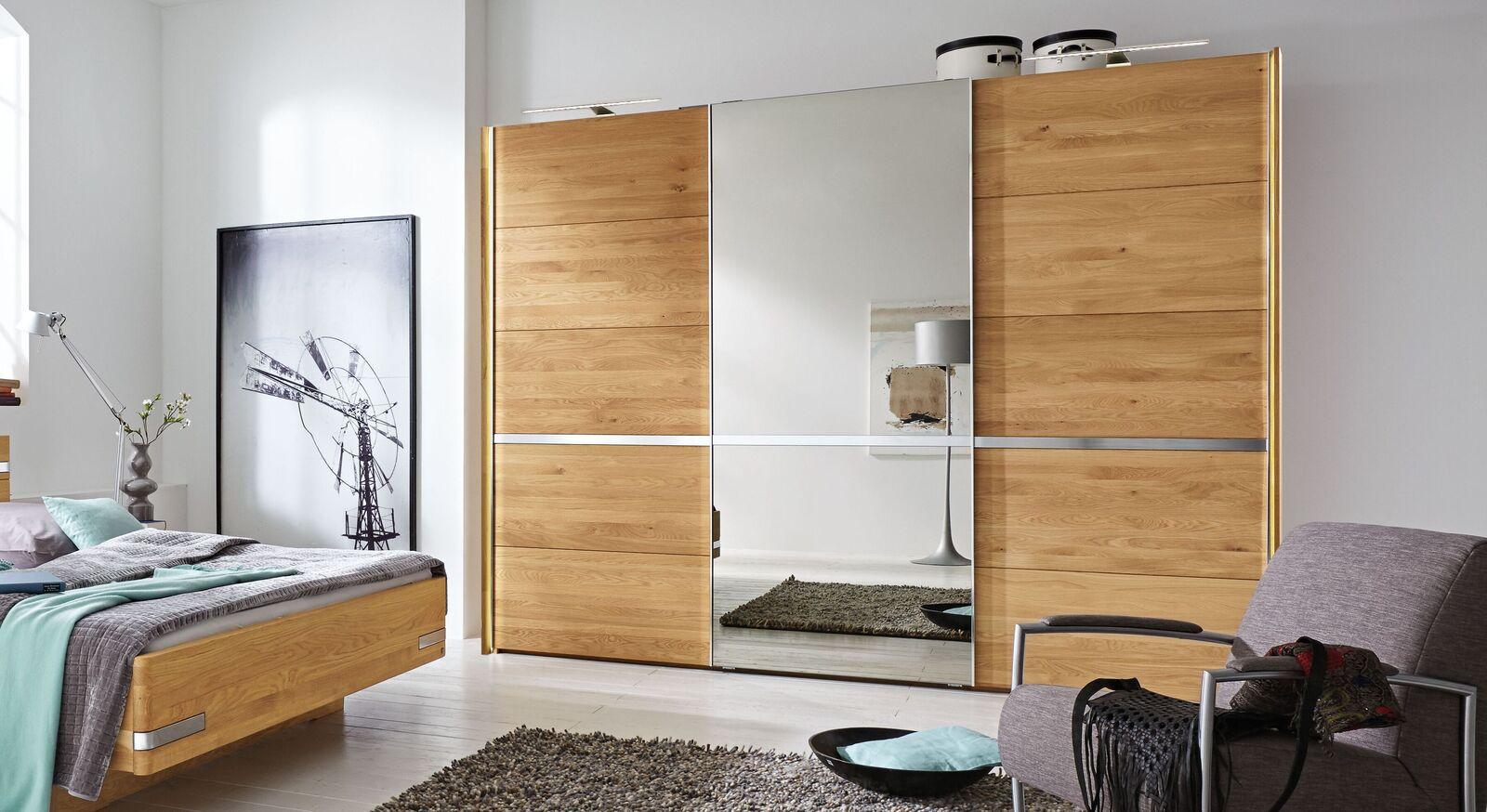 MUSTERRING Schwebetüren-Kleiderschrank Savona mit Spiegel und optionalen Seitenstollen