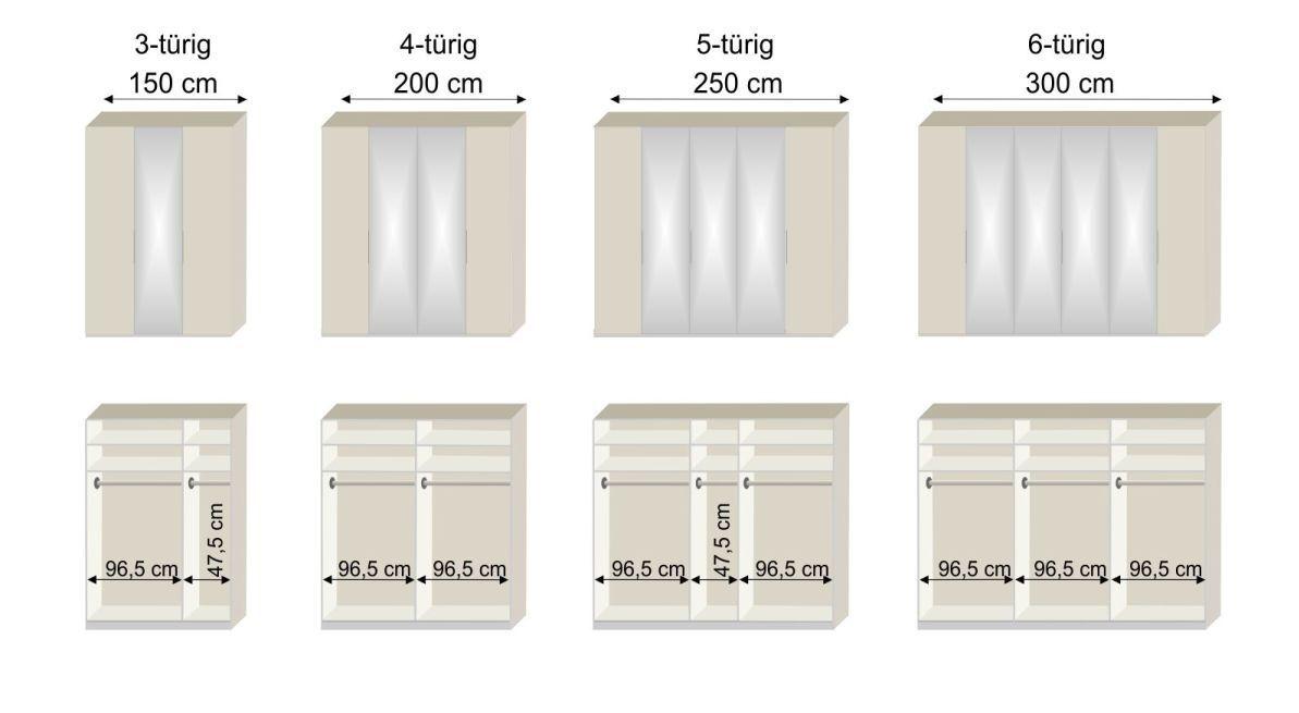 Bemaßungsskizze zum Spiegelkleiderschrank Saphira kieselgrau