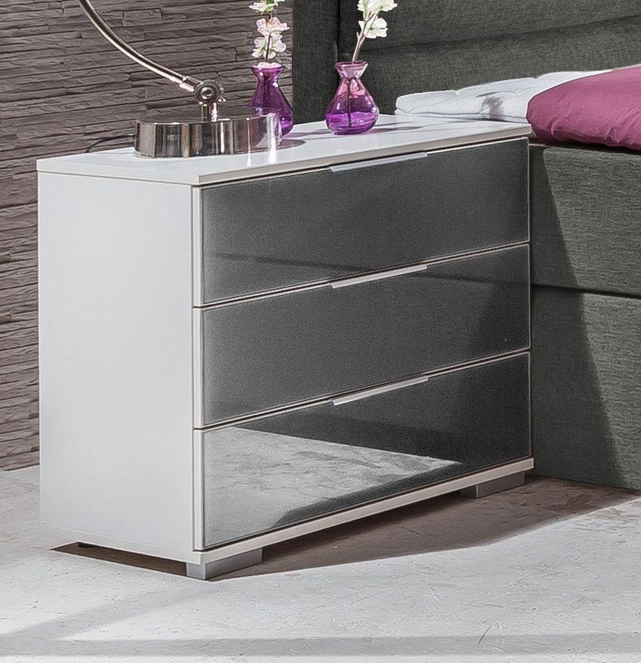 wei er nachttisch mit drei schubladen und spiegelfront arba. Black Bedroom Furniture Sets. Home Design Ideas