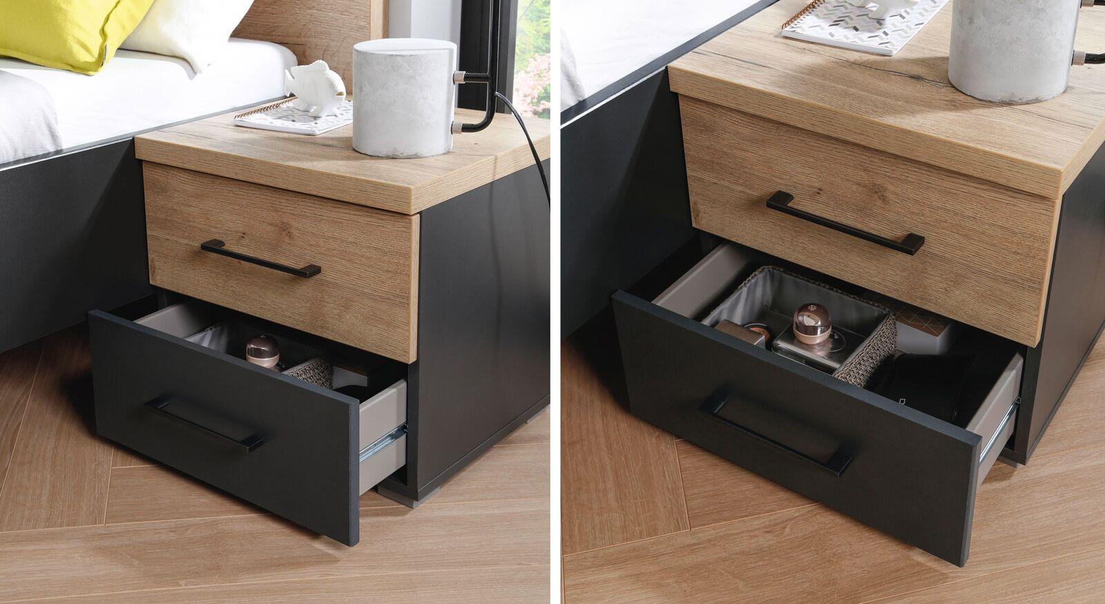 Moderner Nachttisch Azra mit zwei Schubladen