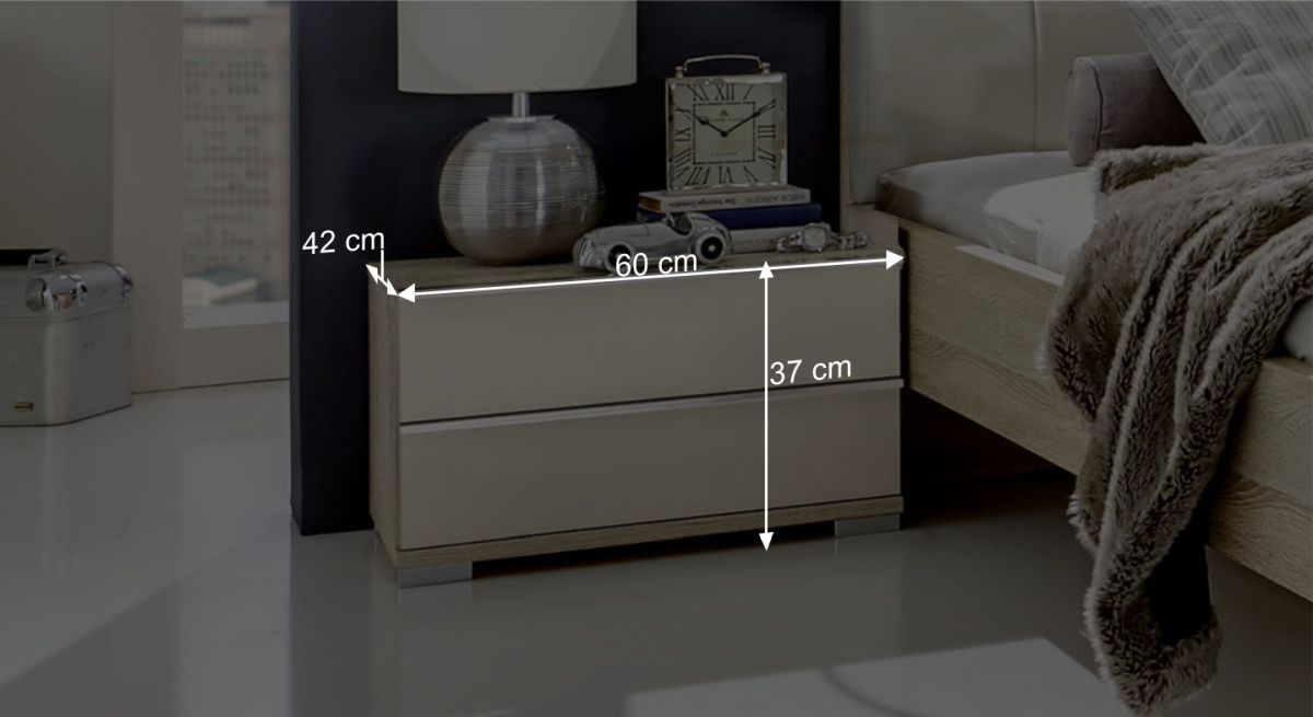 Nachttisch Bangas 2 Schubladen Bemaßungsgrafik