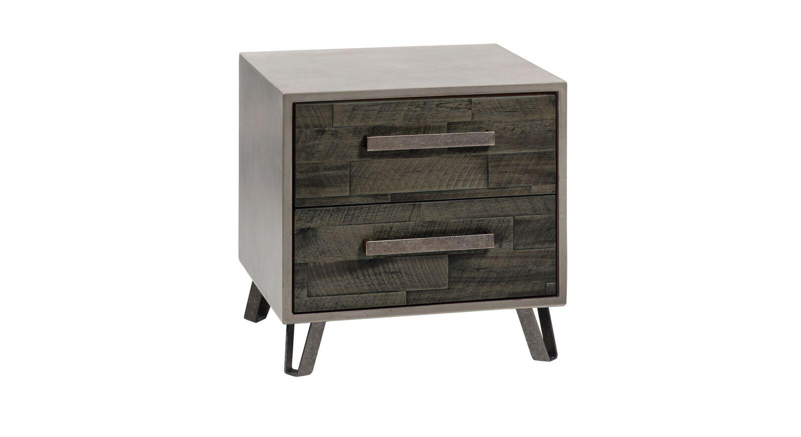 Nachttisch Banvano aus grauem Akazienholz