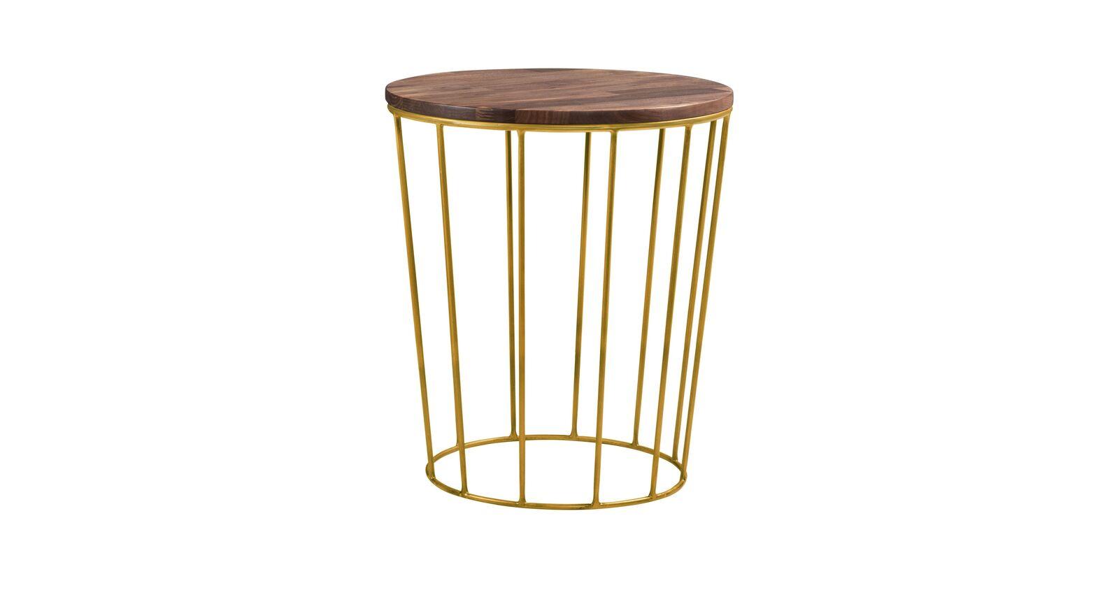 Nachttisch Cecila mit Metallgestell und Holzablageplatte