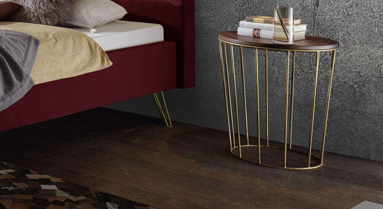 Nachttisch Celica mit Ablageplatte aus Nussbaumholz