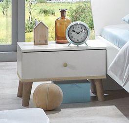Nachttisch Corvara in Alpinwei? mit kontrastierendem Holz