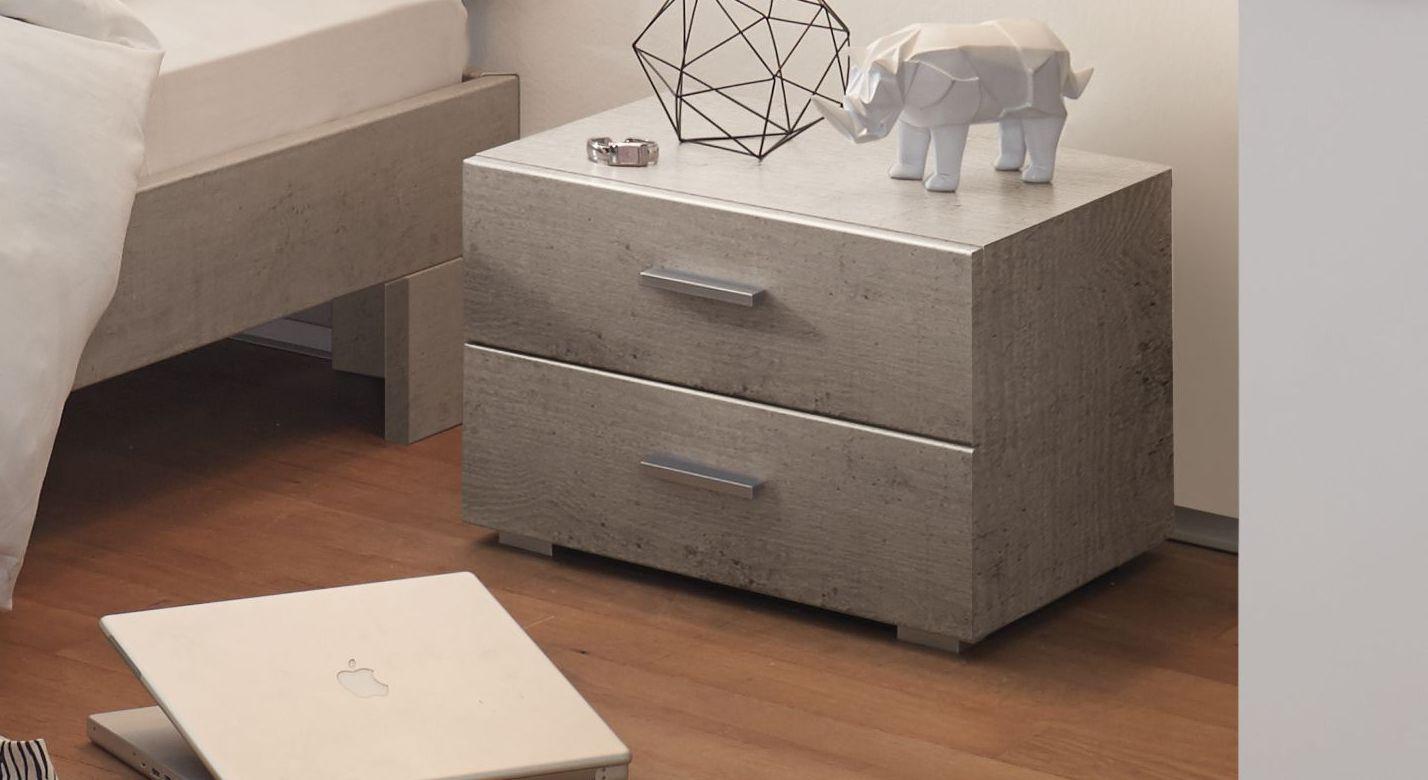 Nachttisch Cubo mit zwei leichtgängigen Schubladen