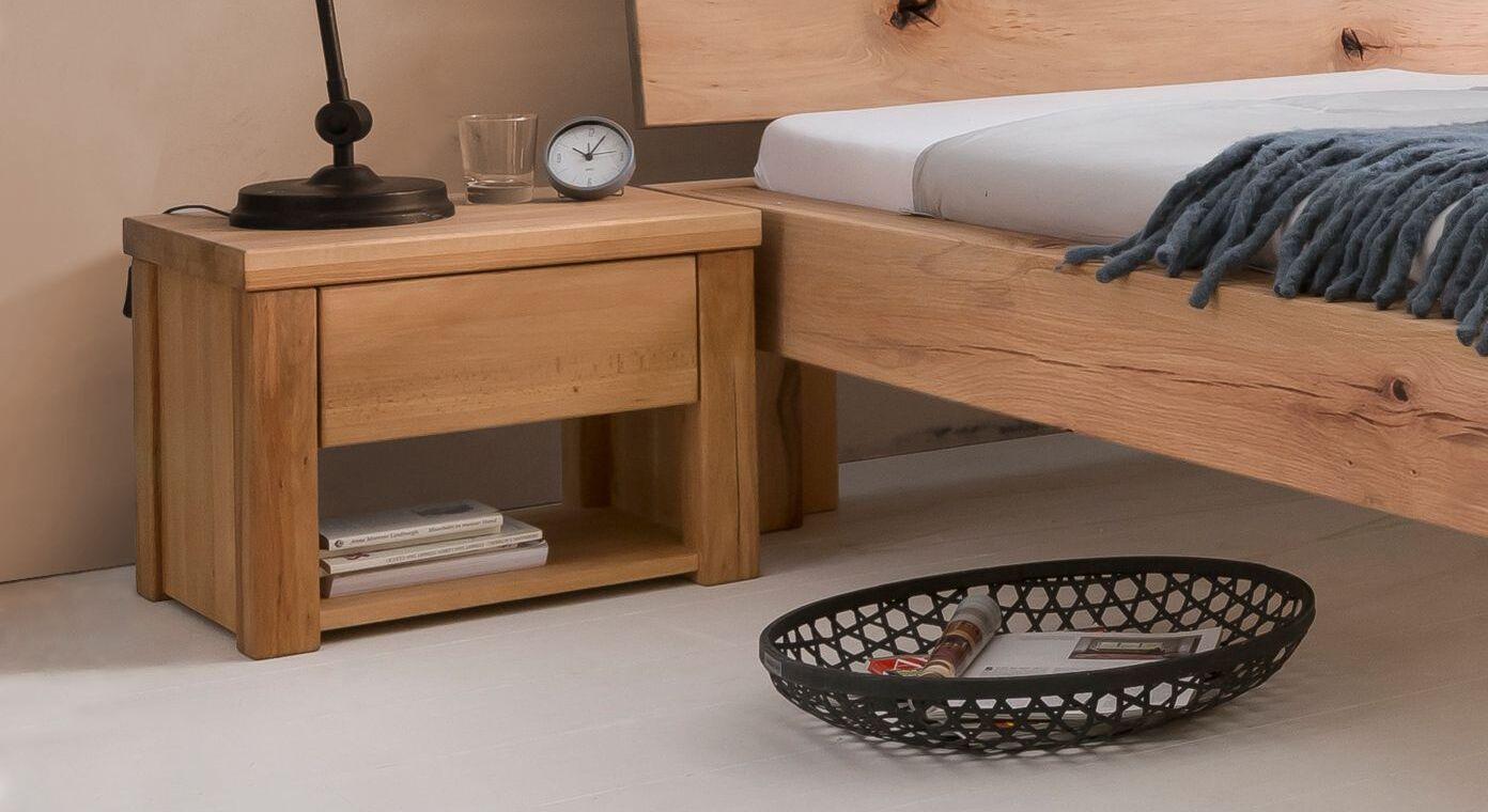 Nachttisch Cunera mit Ablagefach und Schublade