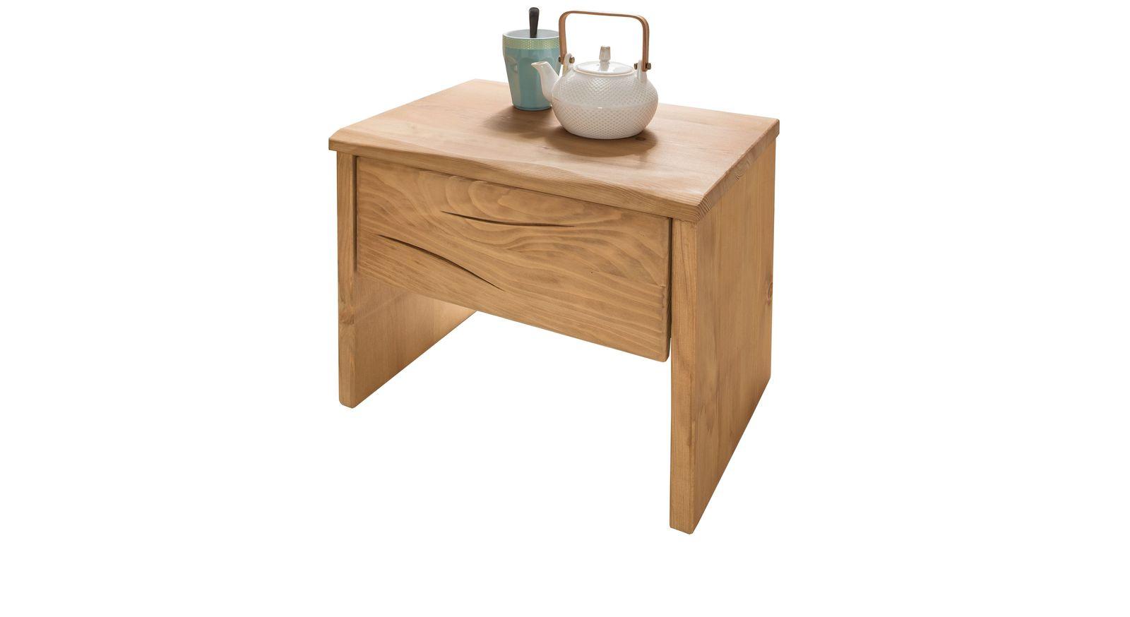 Nachttisch aus geöltem Fichtenholz mit praktischen Stauraum