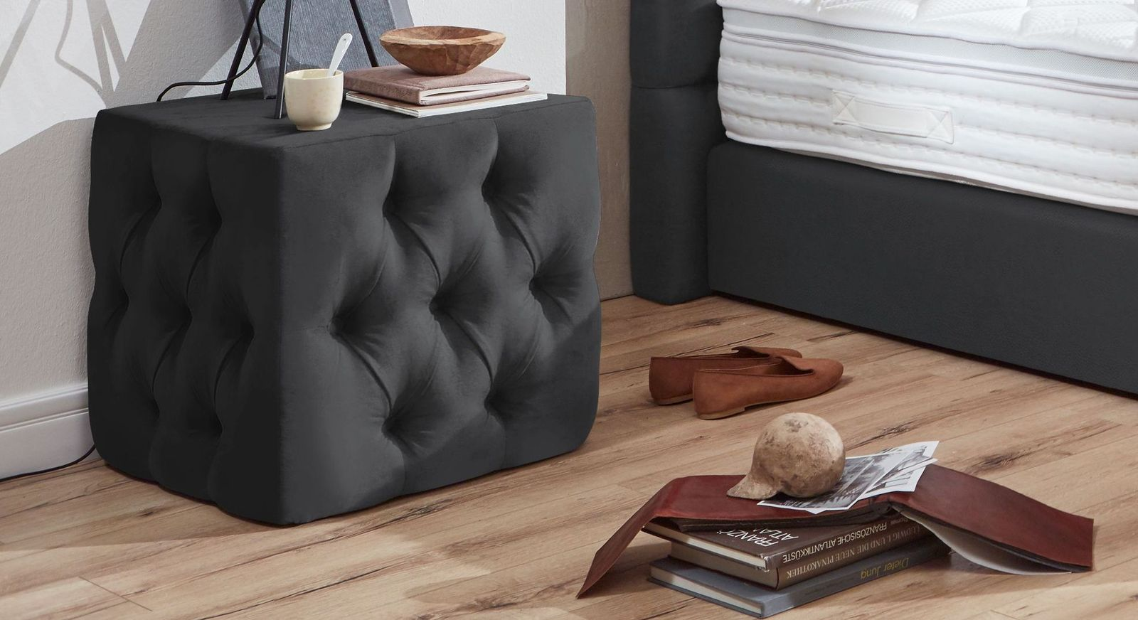 Nachttisch Glendale aus graublauem Kunstleder