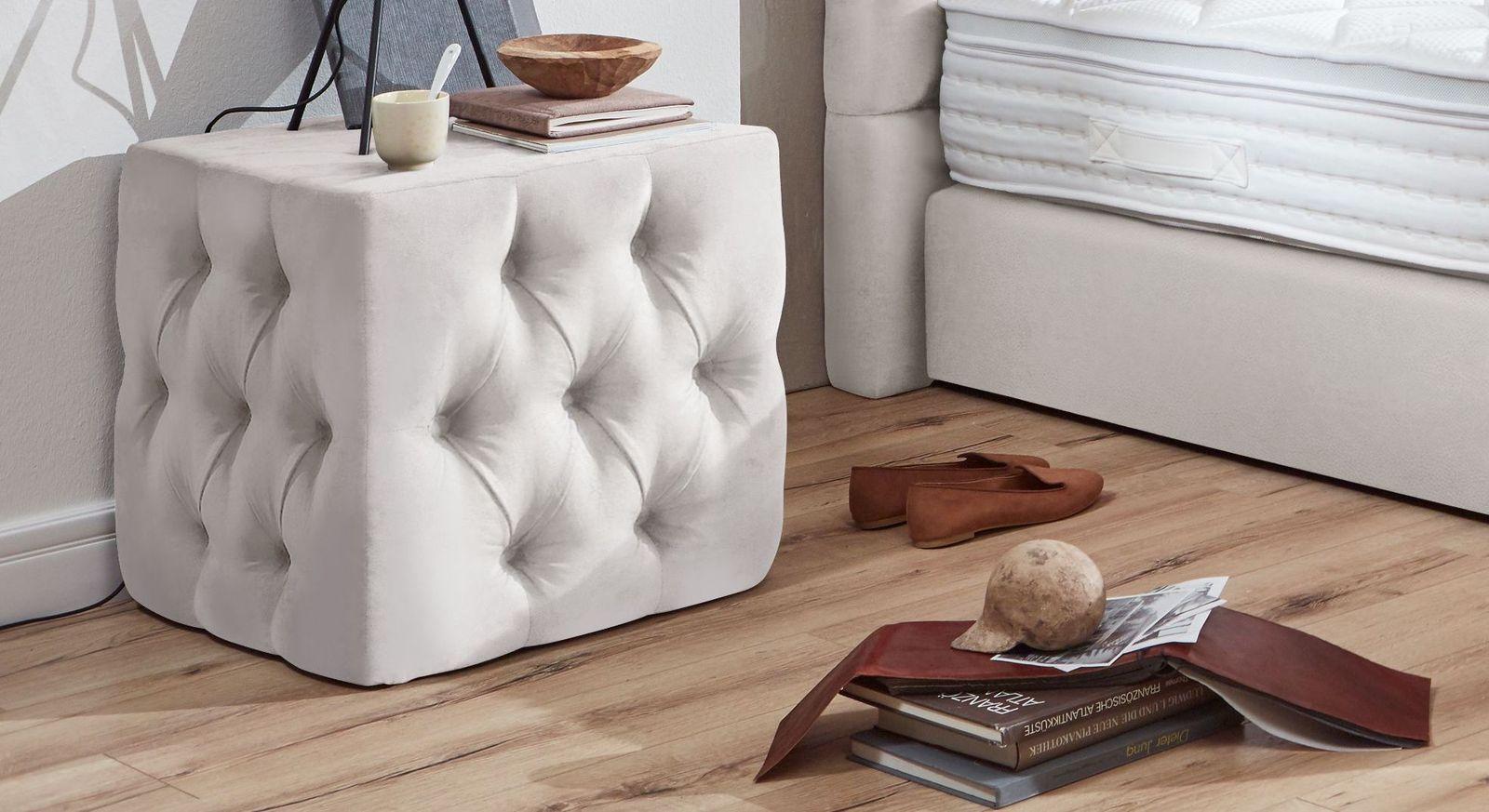 Nachttisch Glendale aus weißem Kunstleder