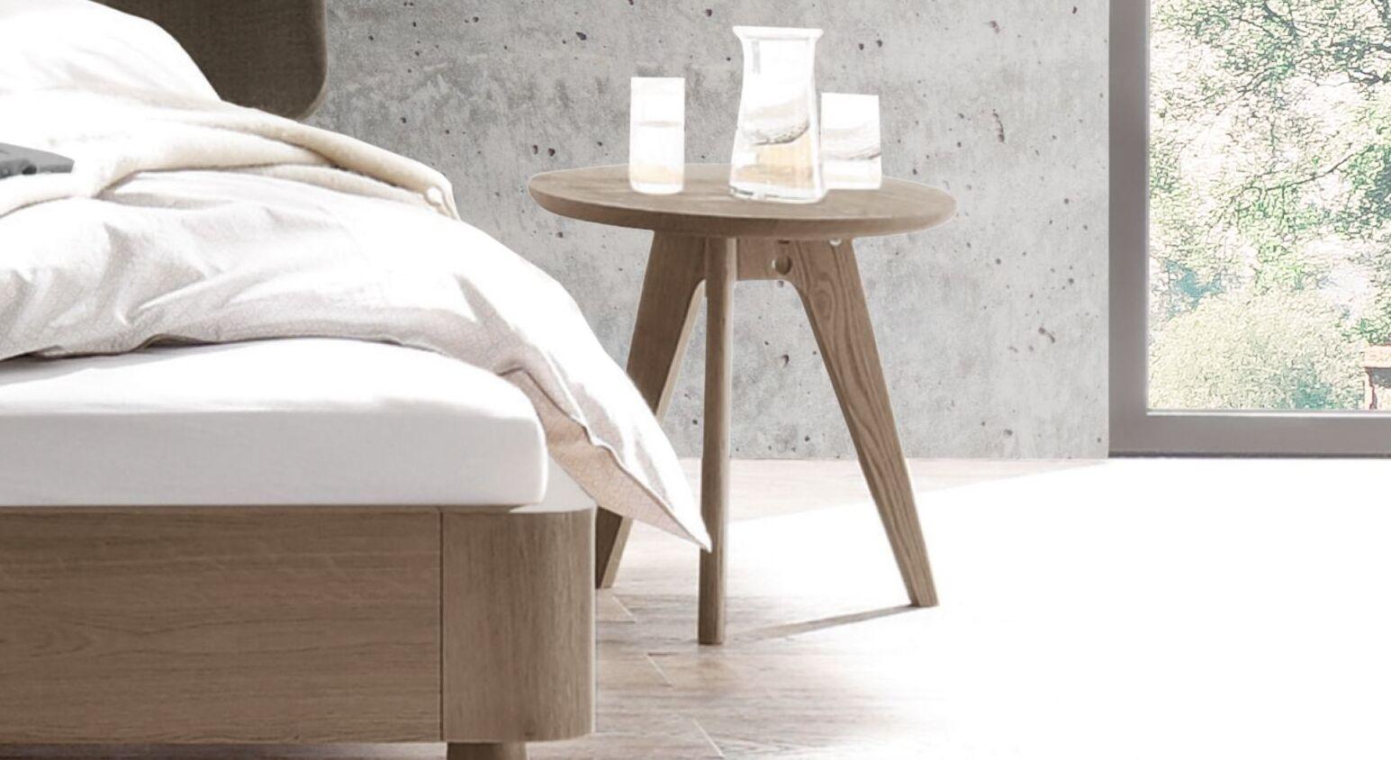 Nachttisch und Hocker Oriane mit runder Ablageplatte