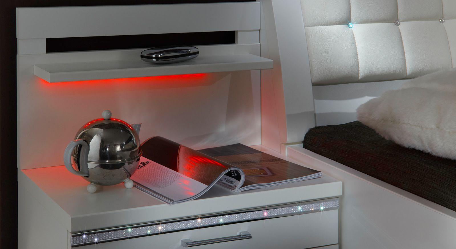 Nachttisch Huddersfield mit Zierleiste aus Kristallsteinen und Farbwechsel-LED-Beleuchtung