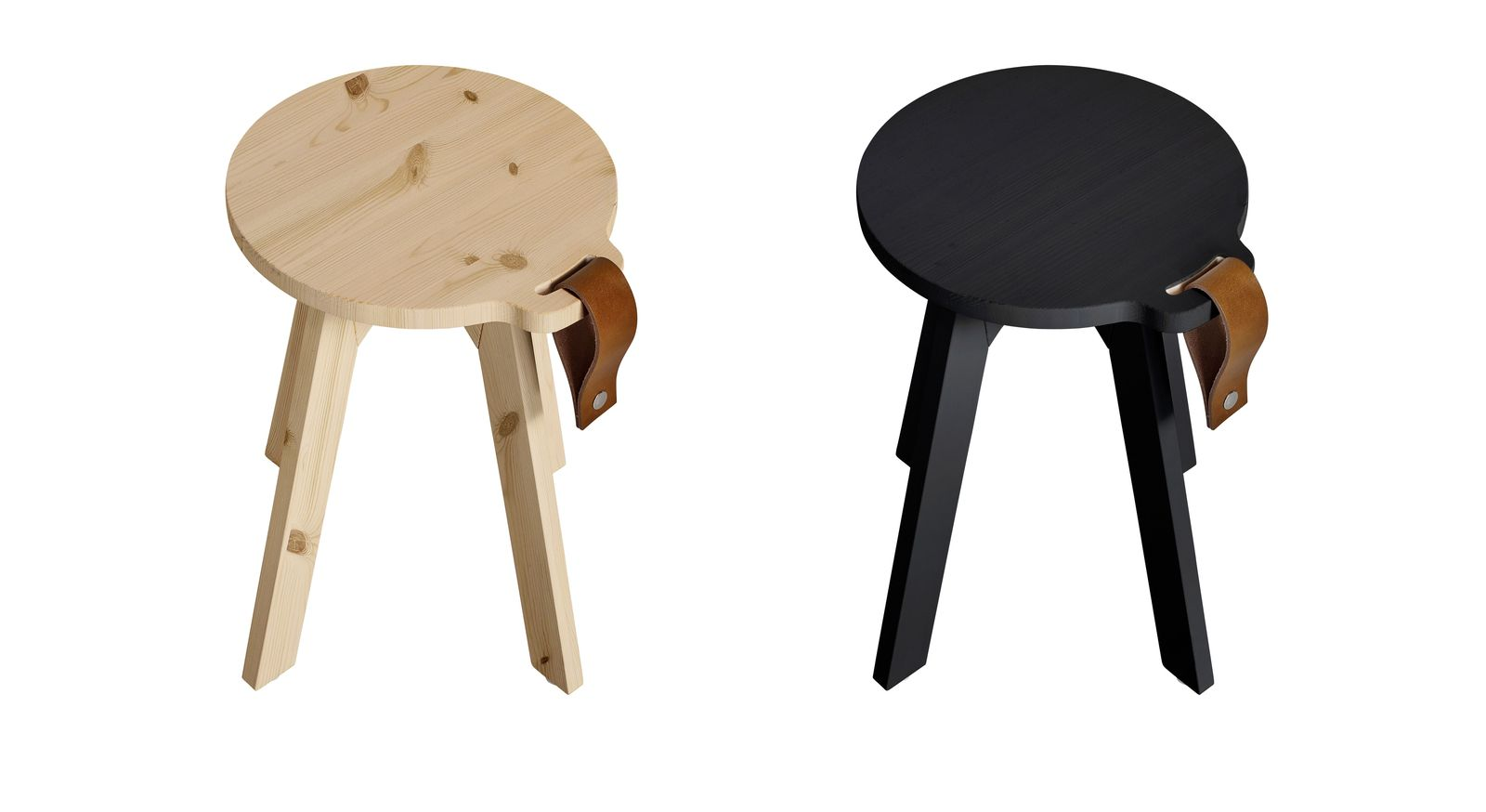 Nachttisch Liri aus naturfarbener und schwarzer Kiefer