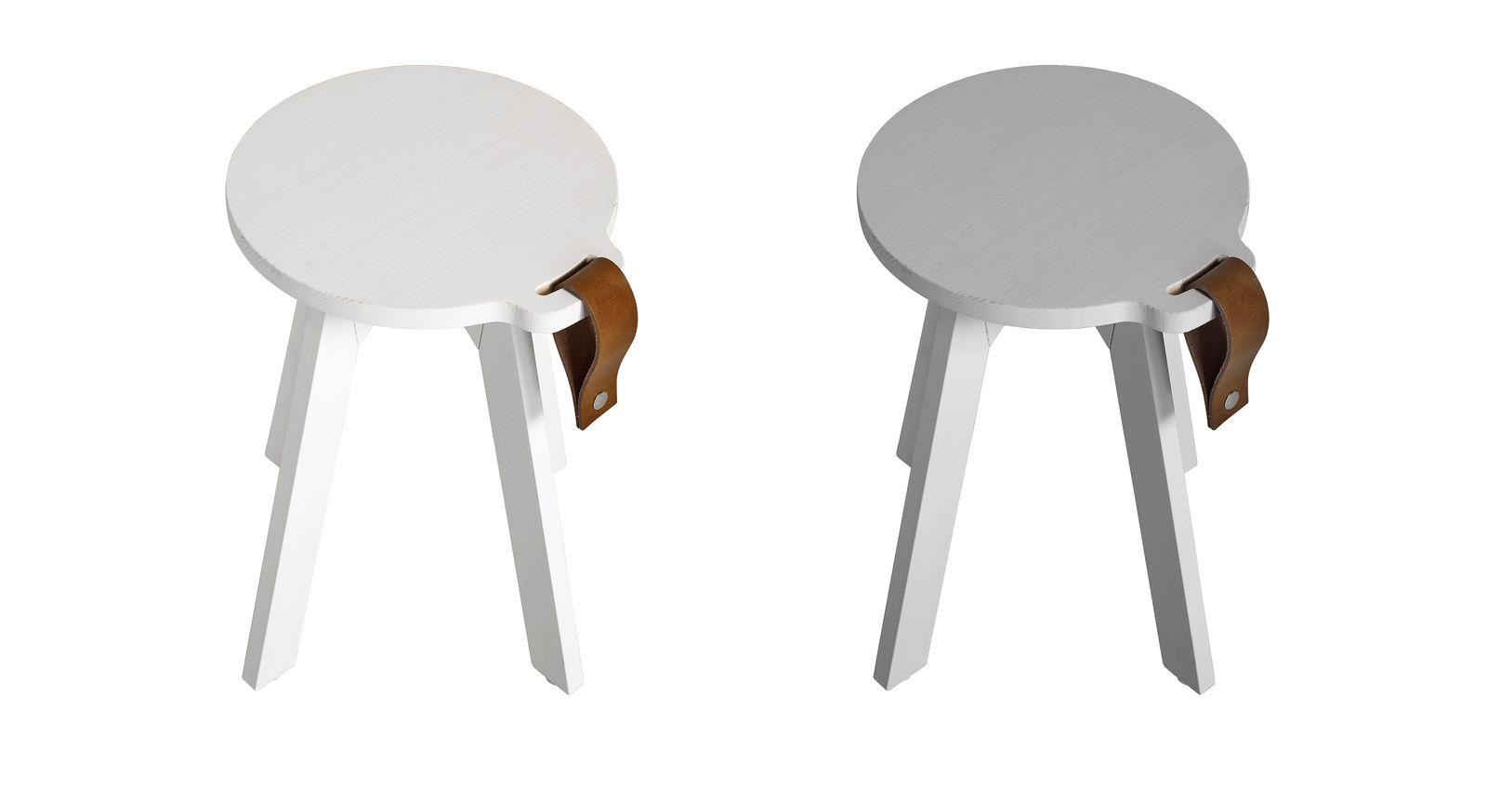 Nachttisch Liri aus weißer und grauer Kiefer