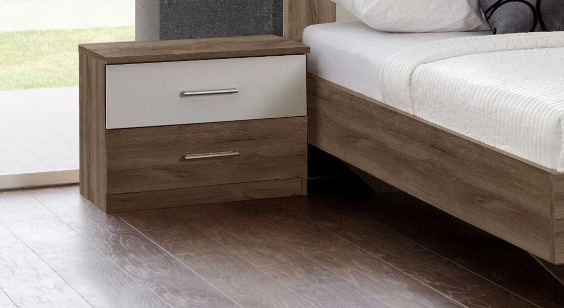 Schubladen-Nachttisch Mandola aus Schlammeiche-Dekor