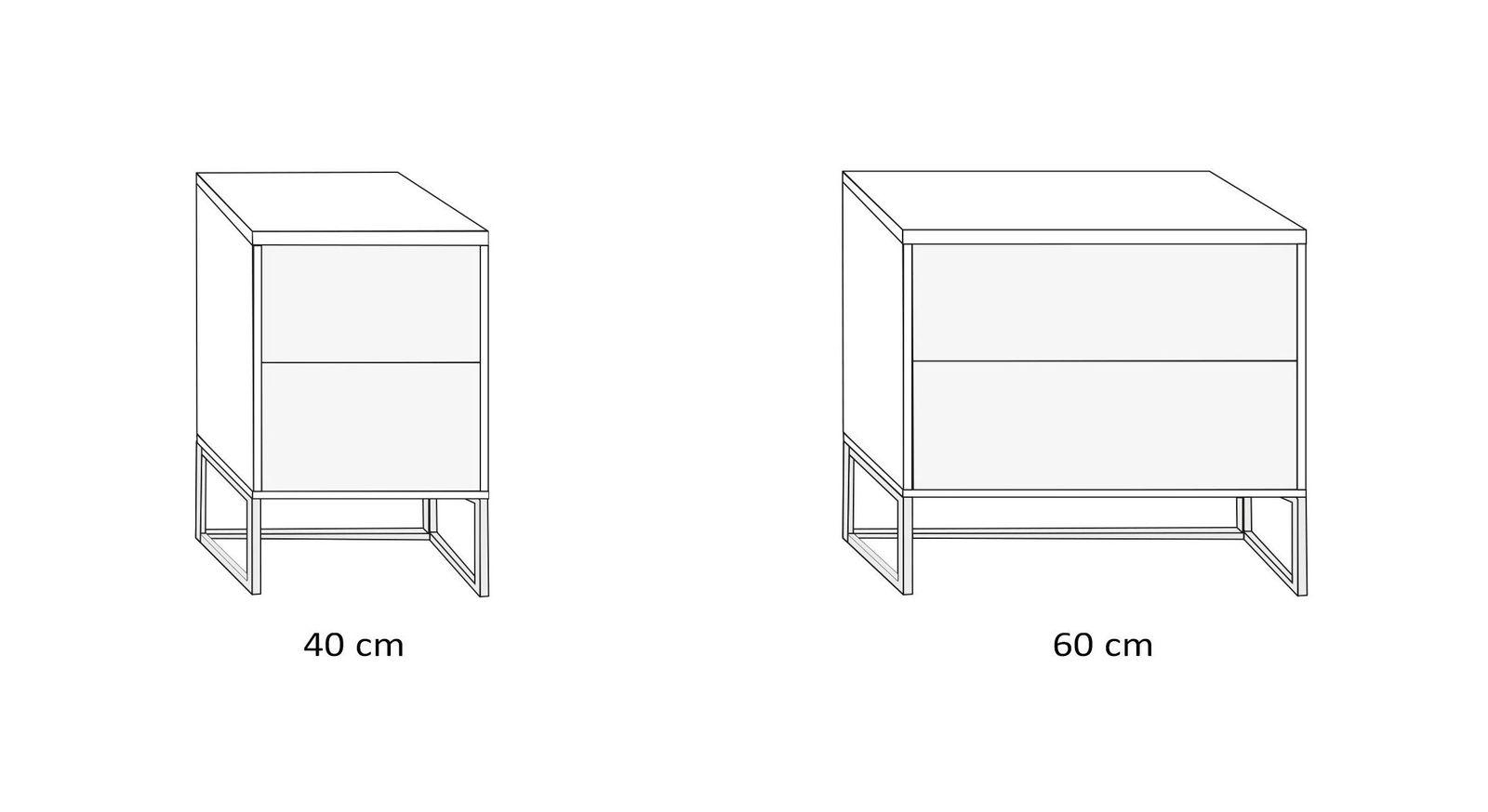 Breiten-Übersicht des Nachttisches mit Metallkufen