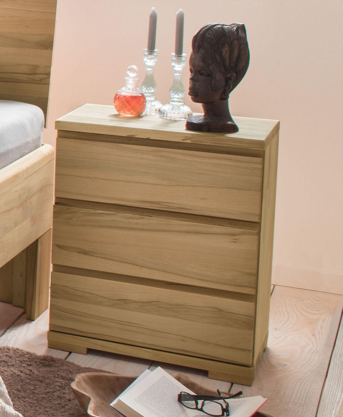 60 cm hoher nachttisch aus massivholz mit schubladen murau. Black Bedroom Furniture Sets. Home Design Ideas