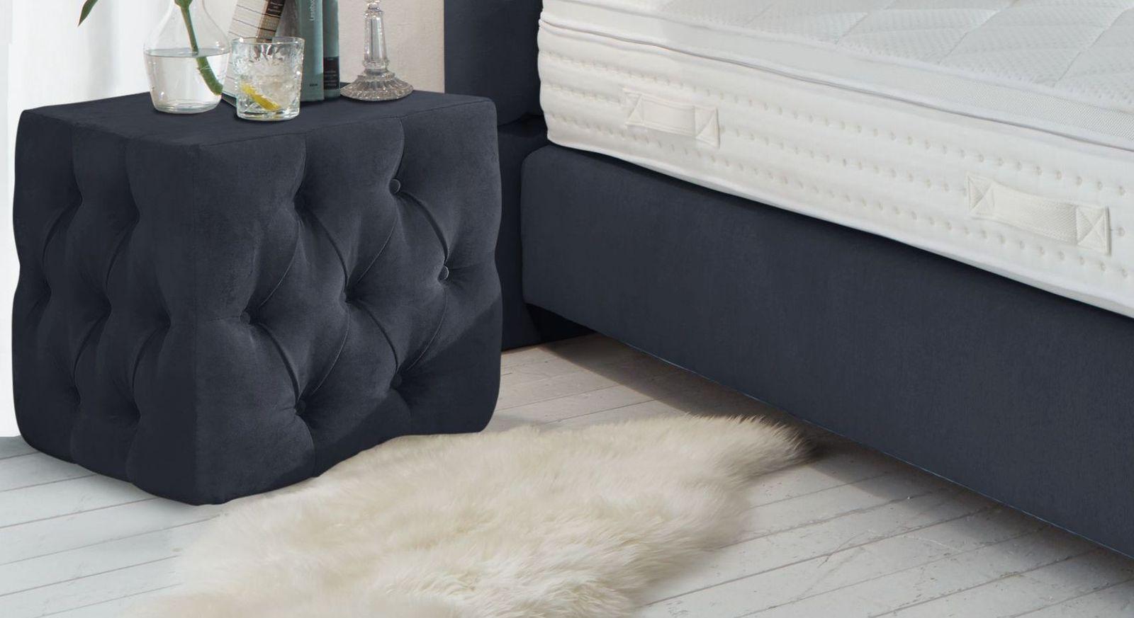Nachttisch Palmdale aus dunkelblauem Velours-Webstoff