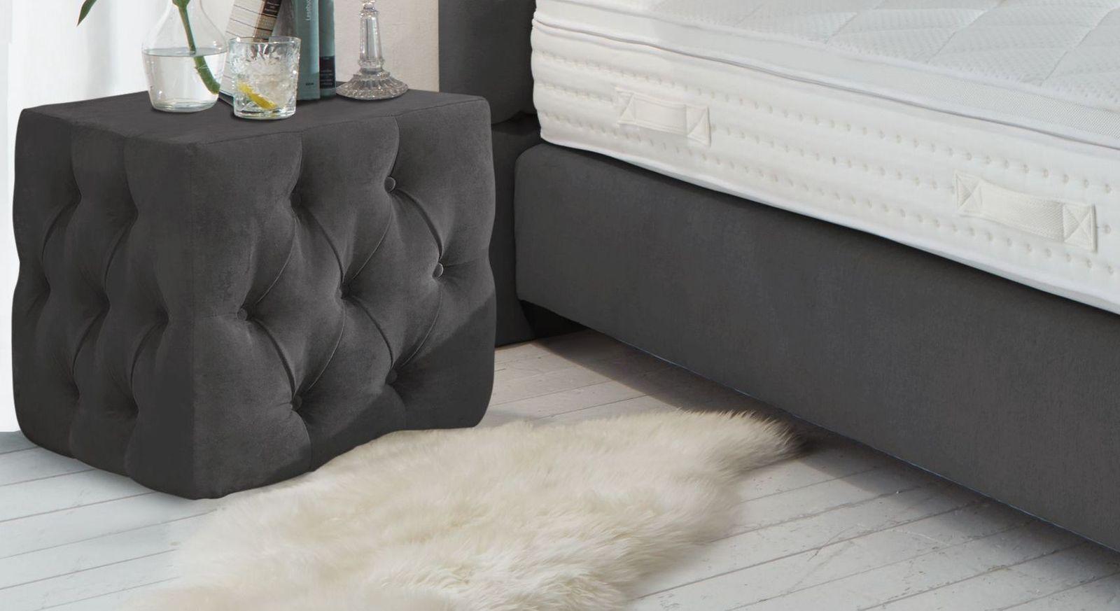 Nachttisch Palmdale aus kohlefarbenem Velours-Webstoff