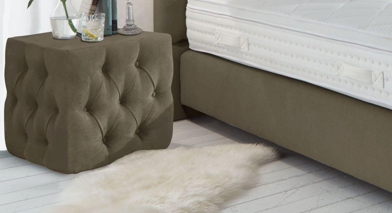 Nachttisch Palmdale aus moccafarbenem Velours-Webstoff