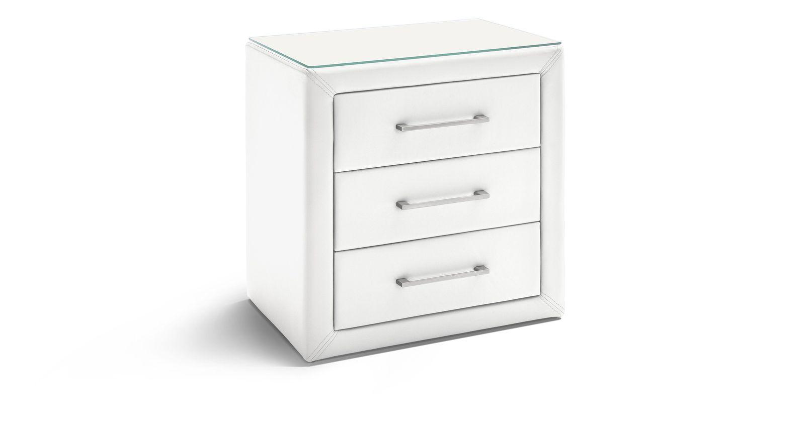 Nachttisch Rimori aus atmungsaktivem Kunstleder in Weiß