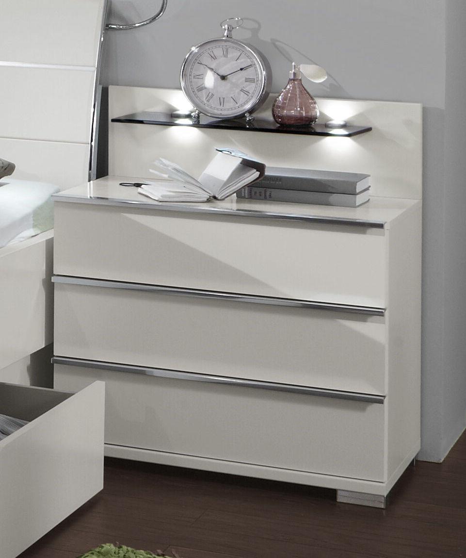 nachttisch mit schubladen und led beleuchtung salford. Black Bedroom Furniture Sets. Home Design Ideas