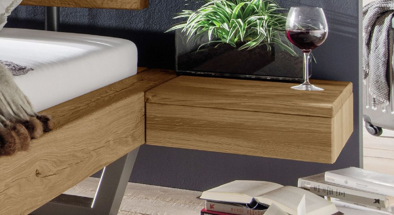 Schubladen-Nachttisch Darica mit Bettrahmen-Anbringung