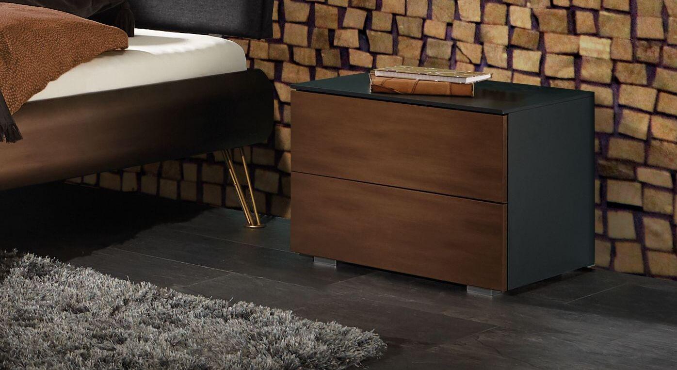 Nachttisch Sirone mit glänzender Dekor-Front