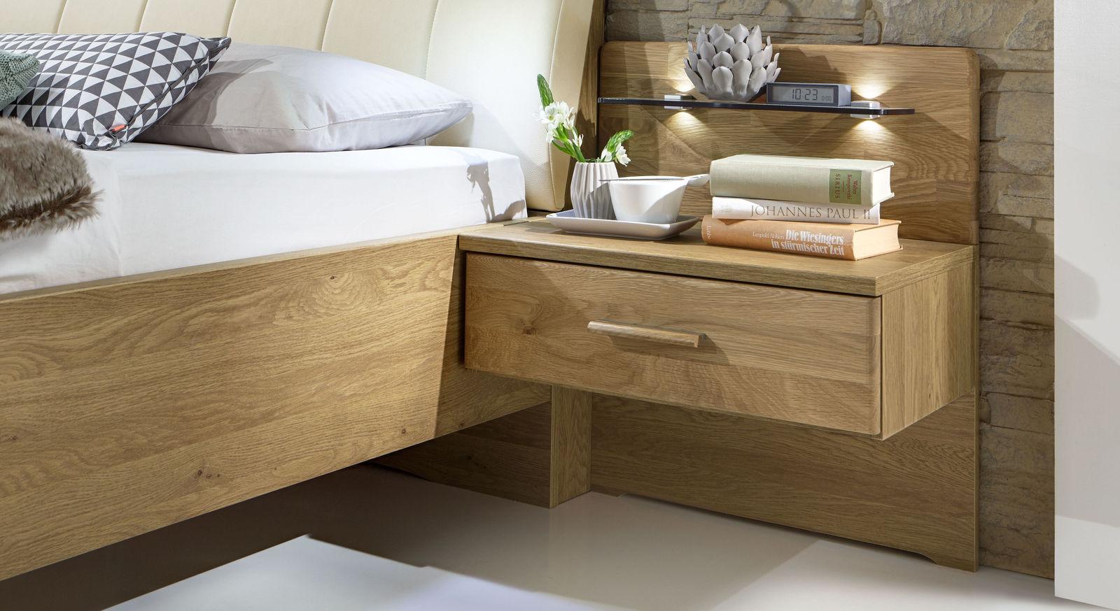 nachttisch in eiche optional mit glasboden beleuchtung. Black Bedroom Furniture Sets. Home Design Ideas