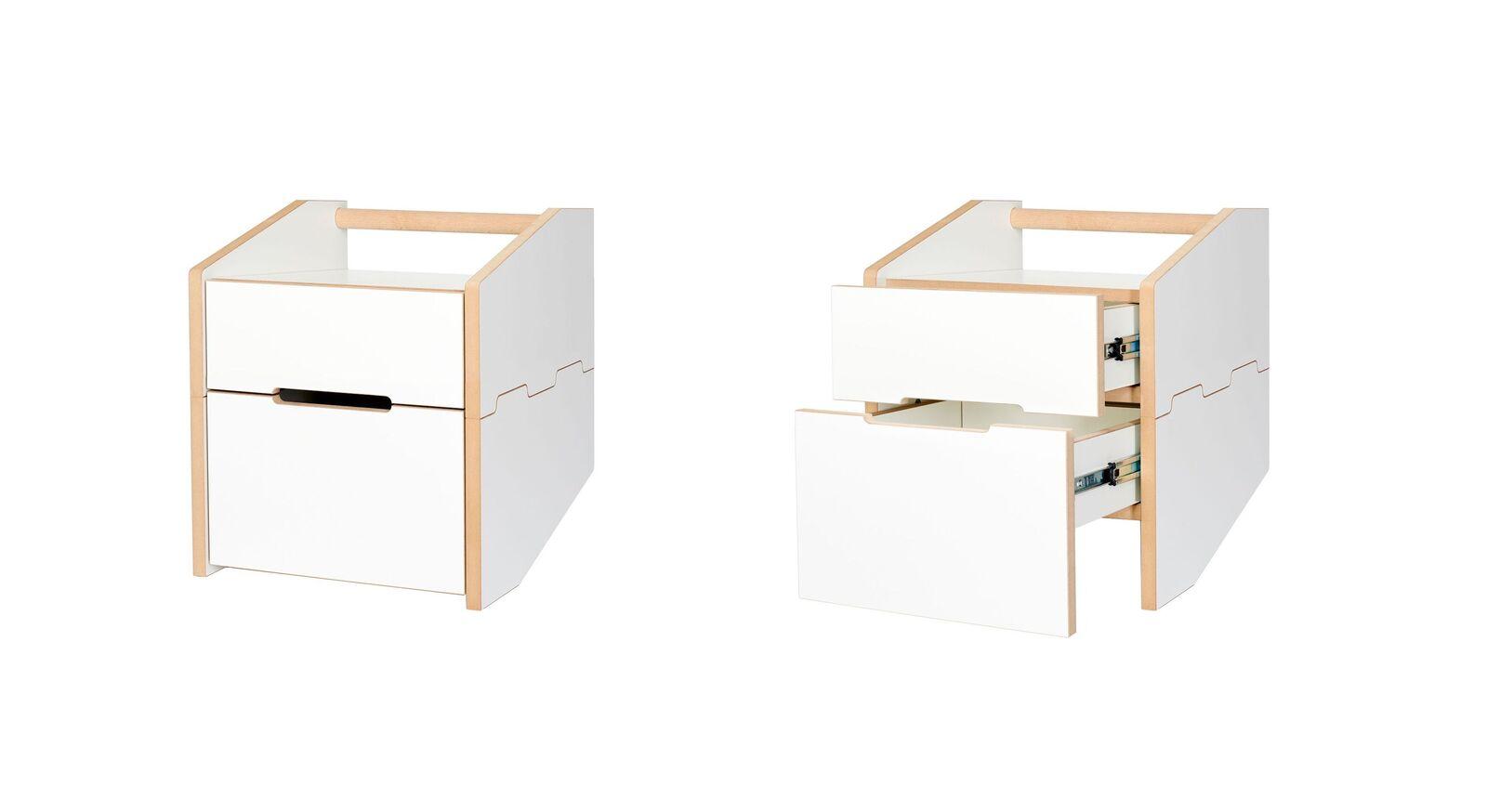 Nachttisch Tojo Cargo mit Schubladen und Griffmulde