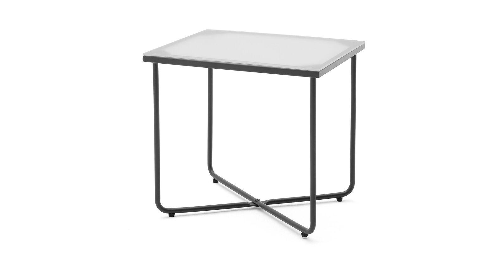 Rustikaler Nachttisch Vegeta mit Glasplatte