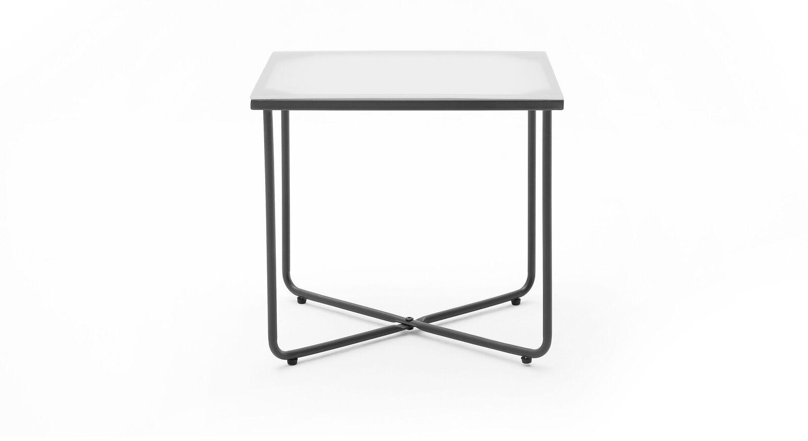 Nachttisch Vegeta mit graphitfarbenem Metallgestell